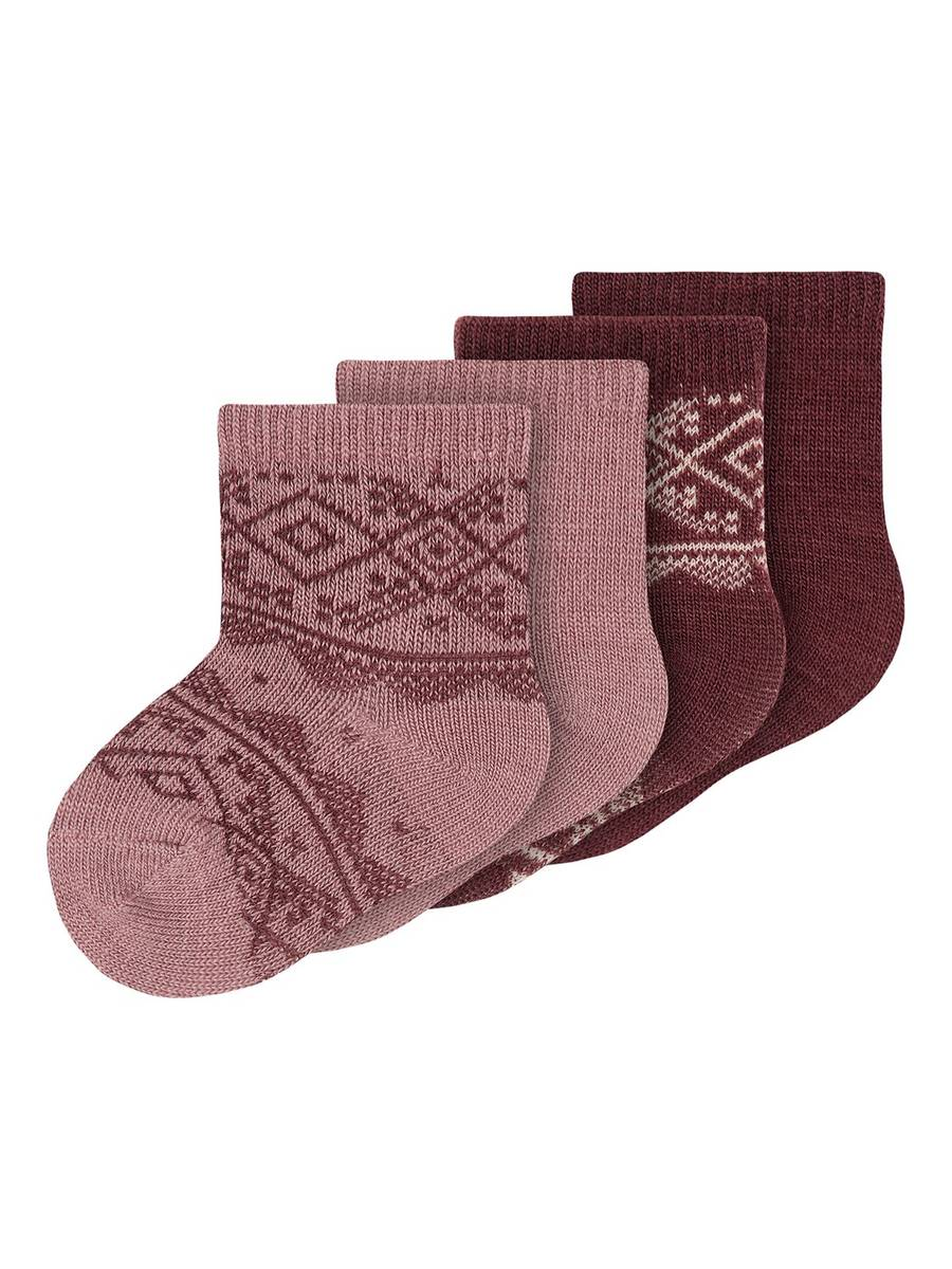 Name It Wak Wool 4 pk sokker baby - nostalgia rose