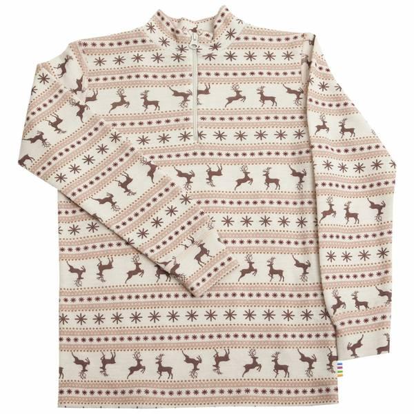 Bilde av Joha Jumping Deer ull trøye med zip kids - rosa